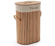 SSITG Wäschekorb Bambus Wäschesammler Wäschetruhe Wäschebox 70L Wäschetonne Box