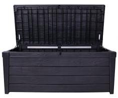 Ondis24 Keter Kissenbox Brightwood + Vorhängeschloss Schloss Auflagenbox Gartenbox Sitztruhe Kiste für Sitzkissen anthrazit 454 Liter