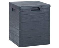 yorten Garten-Aufbewahrungsbox Abschließbar Gartenbox Gartentruhe Aufbewahrungstruhe Anthrazit Kunststoff (mit Holzoptik) 42,5 x 44 x 50 cm 90 L