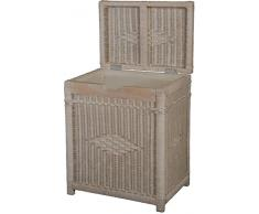 Krines Home Wäschekorb mit Holzrahmen aus Rattan/Wäschebehälter Hoch Vintage Weiß/Wäschepuff Korb