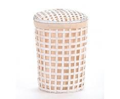 Wäschekorb weiss Bambus ca. 55 L Wäschesammler Wäschebox Wäschetonne Wäschesortierer