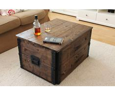 Uncle Joe´s 75756 Truhe Couchtisch Holzkiste, vintage, shabby chic Holz 80 x 55 x 44 cm, Dunkelbraun