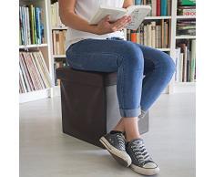 Relaxdays Faltbarer Sitzhocker 38 x 38 x 38 cm stabiler Sitzcube mit praktischer Fußablage als Sitzwürfel aus Kunstleder als Aufbewahrungsbox mit Stauraum und Deckel zum Abnehmen für Wohnraum, braun