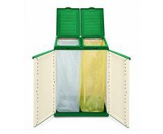 XXL Gartenschrank mit zwei Halterungen für z.B. Müllsäcke (optional). Frontseitig und von Oben zu öffnen. In Farbton Grün/Sand.