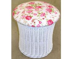 Hansen Korb 530/CL116 Wäschehocker Korb weiß aus Weide, mit abnehmbarem Deckel, Bezug: florales Rosen Design, Wäschehocker/Korb innen gefüttert, Artikelabmessungen: Durchmesser 45 H 44 cm