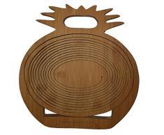 Faltkorb Ananas Bamboo, wunderschöner Klappkorb 30 x 30 cm aus Bambusholz Faltkorb Holzkorb Korb Schale rund 3D aus Bambus Obstkorb Dekoschale Obstschale Holz faltbar Gemüseschale Obstteller, ideal auch als Untersetzer für Töpfe,