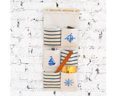 Yiuswoy Kreative Hängeaufbewahrung Stoff Wasserdicht Bad Aufbewahrungstasche,Wohnzimmer Schlafzimmer Wand Hängenden Beutel Tasche - Sechs Taschen Blau