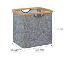 Relaxdays Aufbewahrungskorb Stoff, Aufbewahrungsbox grau, Stoffbox, Regalkorb quadratisch, HxBxT: 31 x 33 x 33 cm, grey