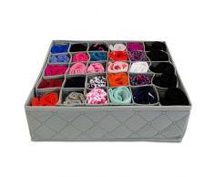 VENKON - Faltbare Aufbewahrungsbox mit 30 Fächern Ordnungsbox Organizer Sortierkasten Regal Fachteiler grau