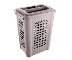 keeeper Wäschebox mit Einwurfschlitz und aufklappbarem Deckel, Luftdurchlässig, 60 l, Per, Grau