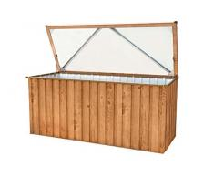 Tepro Metall-Gerätebox Kissen-Box Garten-Schrank 770 Liter Gartentruhe in Eichen-Holz Optik