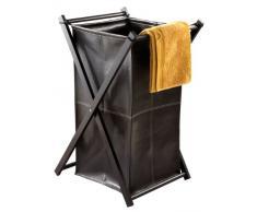 Nicol 1460638 Wäschebehälter Lotta faltbares Holzgestell, Wäschesammler aus Kunstleder, Holz, dunkelbraun, 43.0 x 50.0 x 81.0 cm