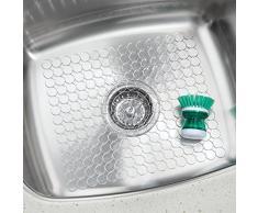 iDesign Orbz Spülbeckenschutz, zuschneidbare Abtropfmatte aus Kunststoff für Geschirr, durchsichtig