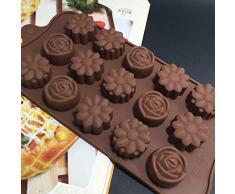 duquanxinquan Silikon Schokoladenform Blumenform Silikonform Blumenförmig Rose Backförmchen für Schokolade/Süßigkeit/Gelee/Eiswürfel Braun