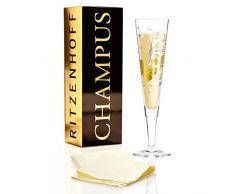 Ritzenhoff Champus Champagnerglas, Kristallglas, Gold, Platin, 7 cm