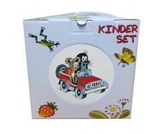 Trullala Kindergeschirr, Geschirr-Set, der kleine Maulwurf, aus der Sendung mit der Maus 3-teilig aus Tasse, Müslischale, Teller