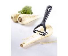 Westmark Gemüse-/ Spargelschäler mit Keramikklinge und Ausstecher, 15 x 6,9 cm, Gentle, Kunststoff/Keramik, Schwarz/Weiß, 28112270