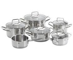 WMF Trend Topfset, 6-teilig, mit Glasdeckel, Kochtopf, Stielkasserolle, Cromargan Edelstahl poliert, induktionsgeeignet, spülmaschinengeeignet