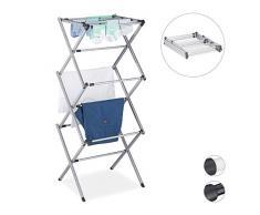 Relaxdays Wäscheständer, klappbar, ausziehbar, 11 Stangen, 6 Ebenen, platzsparender Turmwäscheständer, Metall, grau