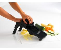 Mastrad Mandolinen Schneider, 5 auswechselbare Edelstahl-Blätter, rutschfester Griff, Handschutz, Gemüse- und Obstschneider