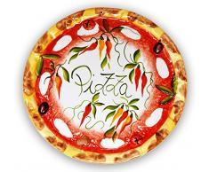 handgemachter Pizzateller Paprika aus italienischer Keramik, großer Teller rund ca. 33 cm