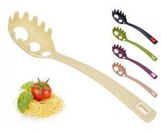 Spaghettilöffel mit Spaghettimaß - Spaghettiheber - Pastalöffel - Pastaheber - Nudelheber - Nudellöffel - Spaghettigreifer - Spaghetti, Farbe:Creme