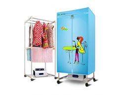 AnnGYJ Wäschetrockner, Home Double-Layer-Fernbedienung Stummschaltung Baby-Spezial-Induktion Schnell trocknende Timing-Programmierung für elektrische Trockner Heizung, 1500W, blau
