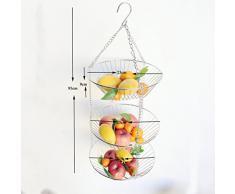 BESTONZON 3-Tier-Draht zum Aufhängen Korb Obst Swing Schüssel Gemüse Küche Aufbewahrungskorb