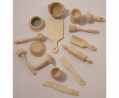 Küchenutensilien - Küchenzubehör - Miniaturset - 15-teilig - Kiefernholz