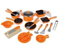 28 tlg Kochtopf Set für Spielküche Töpfe Pfannen Bräter viel Zubehör orange