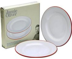 2 Jamie Oliver Speiseteller, große flache Teller, 28cm, weiß mit Rand im Terrakotta Stil
