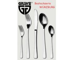 GRÄWE® Salatbesteck 2-tlg. Salatlöffel + Salatgabel Edelstahl, Serie Würzburg, L = 25 cm