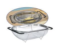 Abtropfsieb ausziehbar aus Edelstahl mit gummierten Griffen Standfuß • Küchensieb Sieb Salatsieb Nudelsieb Ausziehbar