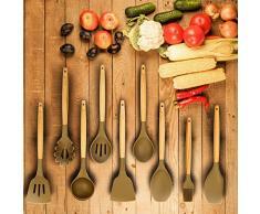Unilove Silikon Küchenhelfer Set für Kochen Holz Küchenutensilien Kochbesteck Set Küchenhelferset (9 pcs, Grau)