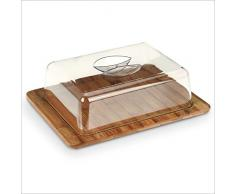 Servierplatte mit Deckel - Glocke mit Bambusbrett - Käseglocke - Frischhalteglocke - Aufschnittplatte - Tablett - Servierteller - Servierglocke