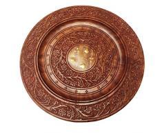 Holz Schöne handgemachte Serving Tablett, rund, mit Blumen-Entwurf Serviertablett, Geschenk für Weihnachten oder Geburtstag