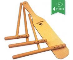 MoonWood Crepes Verteiler - Crepes Wender - 4-teilig Holz (18, 13, 9Spreizer und 30 cm Langer Holzwender) Praktische Größen für jeden Kreppfan - 100% natürliches und hochwertiger Crepes Verteiler