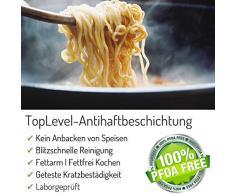 Aluguss Topf Made in Germany Ø 20 cm I Topf beschichtet I 2,5 Liter I PFOA-Frei I Elektroherd Induktionsherd Ceranfeld Gasherd I Hoher Kochtopf I mit Glasdeckel I Alugußtopf Alugusstopf