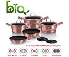 10 TLG. Kochtopfset Induktion Pfannen-Set Topf-Set Aluguss Töpfe Antihaftbeschichtung Marmor Kochtopf Set Ertex (10 TLG. Rose BH6043)