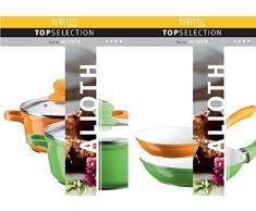 Domestic TOP Selection by Mäser, Serie Alioth, Kochtopf-Pfannen-Set 9-teilig, antihaftbeschichtet, mit weißer ILAG-CERAMIC-Beschichtung, in der Farbe Grün