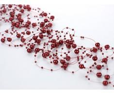 Wadoy Perlengirlanden rot bordeaux weinrot 5 Stück á 1,3m Tischdeko Hochzeit Taufe Weihnachten