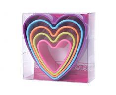 Alsino Herz Ausstecher Backformen Backförmchen Herzchenform Keksform Keksausstecher Toastausstecher 5er Set, wählen:lila
