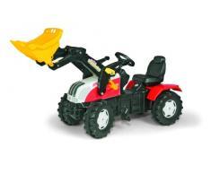 Rolly Toys 046317 rollyFarmtrac Steyr CVT 6240 | Trettraktor mit Lader | Traktor mit Sitzverstellung, Flüsterreifen, Kettenschutz | Frontlader mit Automatikverriegelung | ab 3 Jahren | Farbe rot