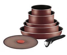 Tefal l2099402 Set Pfannen und Töpfe - Ingenio 5 Essential rot Velours 7-teilig - für alle Herde, auch Induktionsherde