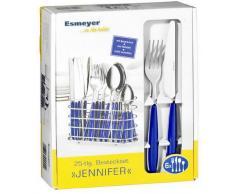 Esmeyer 158-204 24-tlg. Besteck JENNIFER II, Edelstahl 18/0 poliert. Farbe: blau, mit ovalem, verchromten Besteckkorb
