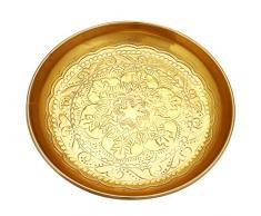 Orientalisches rundes Tablett Schale aus Metall Afet 31cm groß Gold   Orient Dekoschale mit hoher Rand   Marokkanisches Serviertablett Rund   Orientalische goldene Deko auf dem gedeckten Tisch