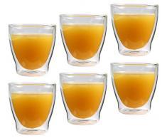Feelino 6x 200ml Rondorello doppelwandiges Kaffeeglas & Teeglas, edle Thermogläser mit Schwebeeffekt