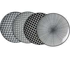 Ritzenhoff & Breker Speiseteller-Set Takeo, 4-teilig, 26,5 cm Durchmesser, Porzellangeschirr, Schwarz-Weiß