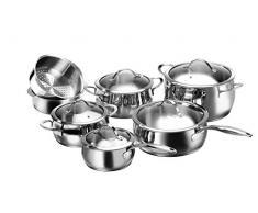 Karcher Topfset Lara aus Edelstahl, Kochgeschirr Induktion-Kochtopf-Set, Töpfe und Pfanne und Stielkasserolle mit Glasdeckel, 7-teilig