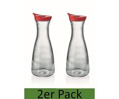 Karaffe mit Deckel 2er Set rot 1 Liter